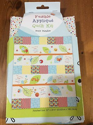 Patchwork Quilt Kit With Fusible Fabric Shapes, Bug's Paradise Size 33x39""