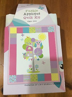 Patchwork Quilt Kit With Fusible Fabric Shapes, Olani Owl, Finished Size 33x39""