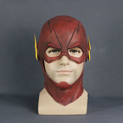 THE FLASH Movie Red Halloween Costume Cosplay Latex Prop NEW Adult Mask Helmet!!