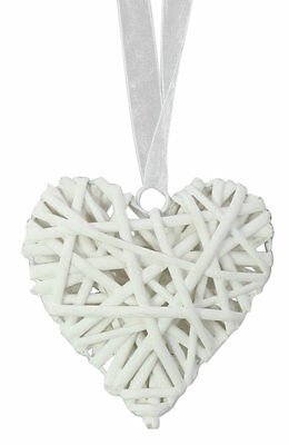 New White Willow/Wicker Heart & Ribbon 14cm Hanging Decoration