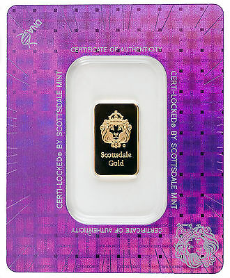 5 gram .9999 Gold Bar - Sealed in Certi-LOCK COA by Scottsdale Mint #A377