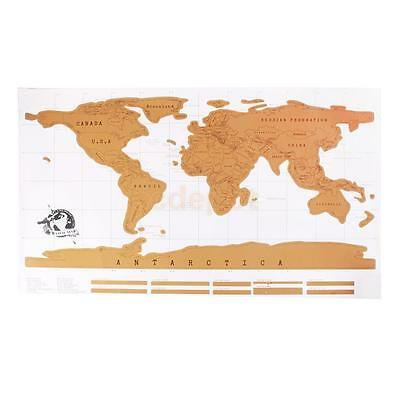 Large Travel Vacation Log Scratch Off World Map Creative Poster Gift Idea