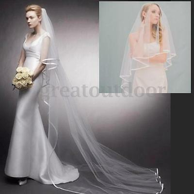 2 Tiers 3M Bridal Wedding Long Veil Cathedral Satin Edge Ivory White With Comb