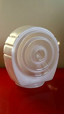 GREAT VINTAGE INDUSTRIAL SCONCE LAMP SHADE 1960s CIRCLES CLEAR & WHITE ART DECO