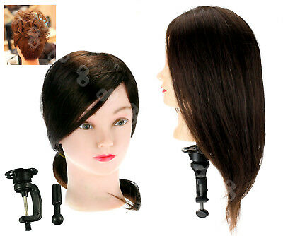 80% Real Human Hair Hairdressing Training Head Mannequin Model With Clamp Stand