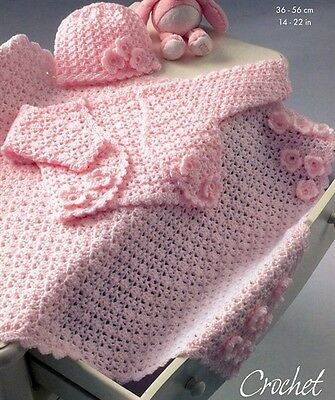 CROCHET Pattern for Baby Copy Blanket Matinee Jacket Bonnet Tiny sizes Incl.
