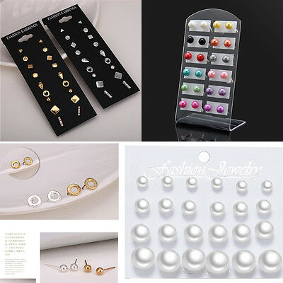 Fashion Jewelry 12 Pairs Women 6MM Pearl Round Ear Stud Party Color Earring Gift