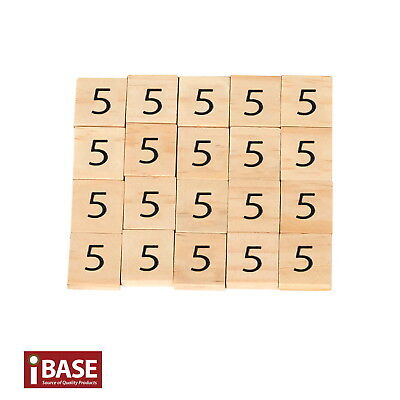20x Wooden Number 5 Scrabble Tiles Scrapbooking Handcraft Letter set Formular