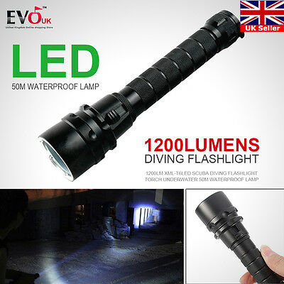 Waterproof 1200Lm XML-T6LED Scuba Diving Flashlight Torch Underwater 50M Lamp