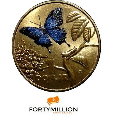 AUSTRALIA: 2014 $1 Bright Bugs Ulysses Butterfly UNC Colour LIMITED MINT 30,000