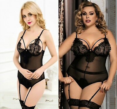 Ladies Black Eyelash Lace Teddy bodysuit lingerie leotard 8-10 12-14 16-18 20-22