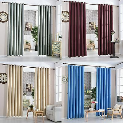 100% Blockout Curtains 3 Layer Pure Fabric Thermal Insulated High Density 640GSM