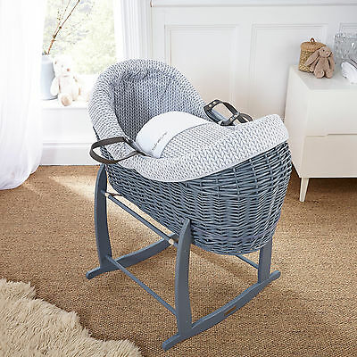New Clair De Lune Grey Barley Bebe Grey Wicker Crossover Noah Pod Moses Basket