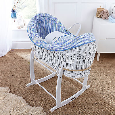 New Clair De Lune Blue Barley Bebe White Wicker Crossover Noah Pod Moses Basket