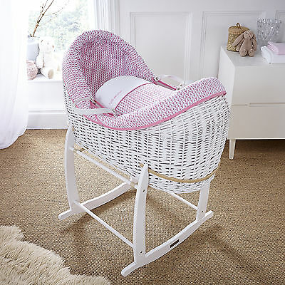 New Clair De Lune Pink Barley Bebe White Wicker Crossover Noah Pod Moses Basket