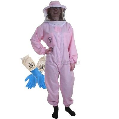 Beekeeping Pink Round Veil Bee Suit  Latex Gloves Sets - Choose Your Size