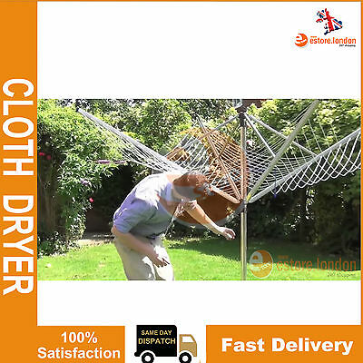 NEW 11kg 3 ARM 30M ROTARY CLOTHES AIRER GARDEN LAUNDRY WASHING LINE CLOTH DRYER