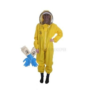 [UK] Buzz Basic Beekeeping Yellow Fencing Veil Suit & Latex Gloves- SELECT SIZE