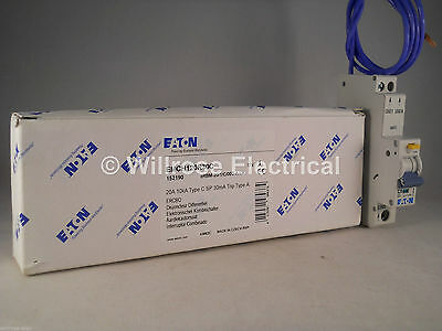 Eaton RCBO 20 Amp 30mA Type C 20A Memshield 3 C20 Compact EMCH120R30C NEW