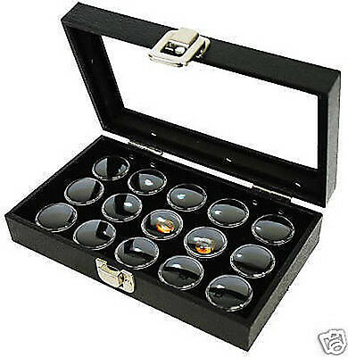1-15 Gem Jar Glass Case Black Insert Jewelry Display