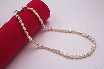 6mm Natural Rice white Akoya Cultured Shell Glossy Elegant Pearl Necklace 17""