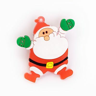 Jolly Father Christmas Santa Flashing LED Light Badge Brooch Pins Party Favors