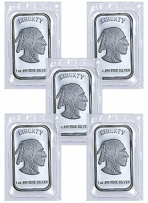 1 oz .999 Fine Silver Buffalo Liberty Bar - Lot of 5 Bars (Sealed) SKU41777