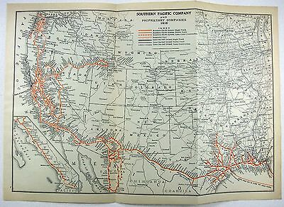 Original 1916 Dated Map of the Southern Pacific Railroad