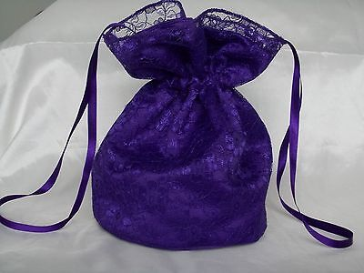 BNWOT Cadbury purple duchess satin and purple lace dolly bag