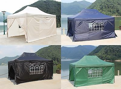 Pop Up Waterproof Garden Gazebo 3x4.5m Wedding Tent Marquee Canopy + Sides Wall