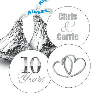 108 Silver 10th Wedding Anniversary Personalized Hershey Kiss Stickers Favors