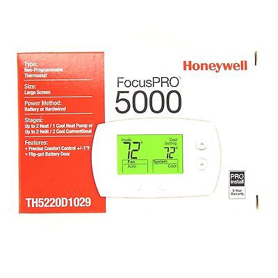 Honeywell PRO5000 Non-Prog Digital Thermostat 3H/2C HP or 2C/2H Conv TH5220D1029