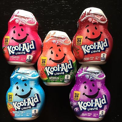 Kool-aid Liquid Drink Mix 4 Pk Cherry Grape Cherry and Tropical Punch Watermelon
