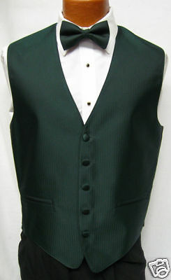 Mens Dark Hunter Green Herringbone Fullback Vest & Tie Choose Sizes