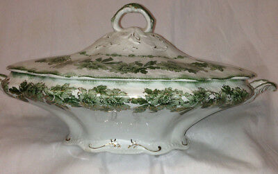 Wood & Sons England Sevres Covered Vegetable Bowl Green Floral Gold Accents