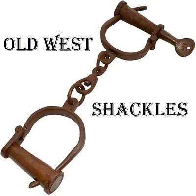 Old West Hand Forged Iron Shackles Antique Medieval Dungeon Rust Hand Cuffs