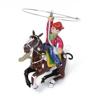 Vintage Wind Up Cowboy Riding Horse Clockwork Toy Kids Birthday Xmas Gift