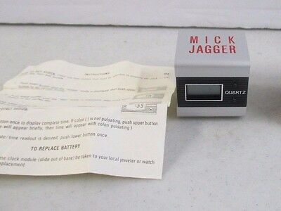 """VINTAGE 1980's MICK JAGGER """"JUST ANOTHER NIGHT"""" COLUMBIA PROMO MINI CLOCK"""