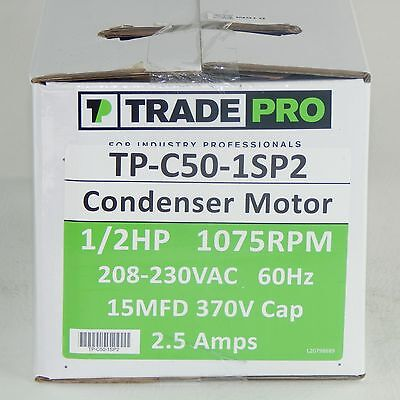 TRADE PRO TP-C50-1SP2 Condenser Motor, 1/2HP, 208/230V, 1075 RPM
