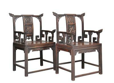 Pair Of 19Th Century Chinese Carved Armchairs