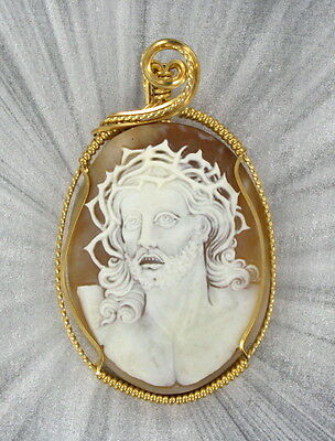 Vintage Antique Cameo Of Jesus Christ Victorian Wire Wrapped