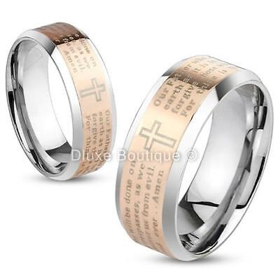Stainless Steel Rose Gold IP Lord's Prayer & Cross Two-Tone Ring Band Size 5-13