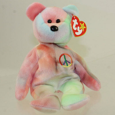 TY Beanie Baby - PEACE the Ty-Dyed Bear (8.5 inch - Green/Pink) MINT