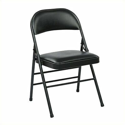 Office Star FF Series Set of 4 Folding Chair with Vinyl Seat in Black