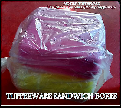 BNIP Tupperware Sandwich Keeper Lunch Boxes - PINK AND YELLOW