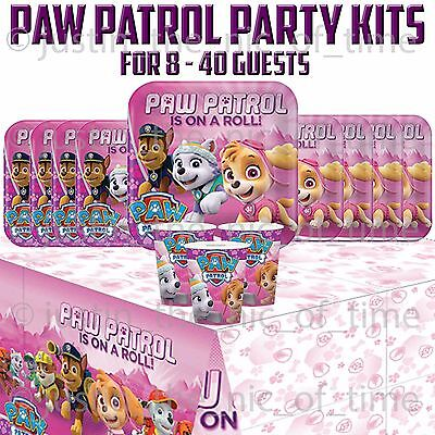PAW PATROL GIRLS Plates Cups Napkins Tableware BIRTHDAY PARTY KITS 8 - 40 Guests