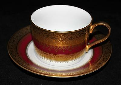 Faberge IMPERIAL HERITAGE Burgundy, Gold Encrusted, Flat Cup & Saucer Set