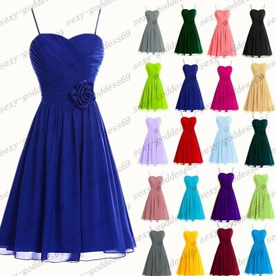 Short Chiffon  Bridesmaid Formal Gown Ball Party Evening Prom Dress Size 6-24