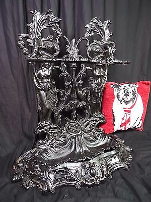 Architectural Large French Black Cast Iron Acanthus Maidens Umbrella Stick Stand