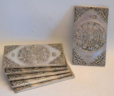 Collection of 6 Chinese Zodiac Silvered Bronze Plaques and Scroll Weights